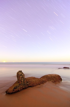 coastal landscape long exposure night with stars in motion Stock Photo - 13117067