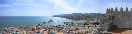 Castellon, Spain - September 4, 2016: Overview of the town of Peñiscola, from the Papa Luna Castle.