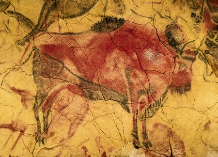 Red Bison from Altamira Cave Stock Photo