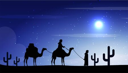 background of magicians on camel in night desert