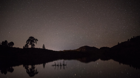 night landscape with reflection in lake