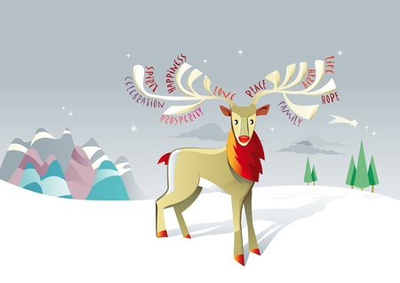 christmas and new years postcard  with a lonely reindeer on a winter snowy landscape and star. Stock Vector - 11119644