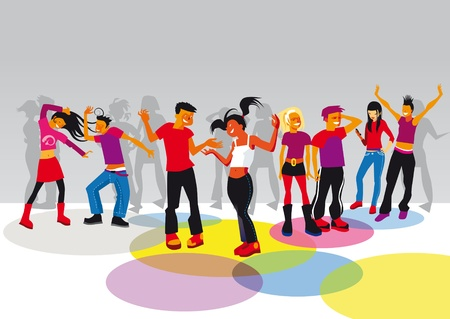 group of boys and girls dancing and having fun in a disco Vector