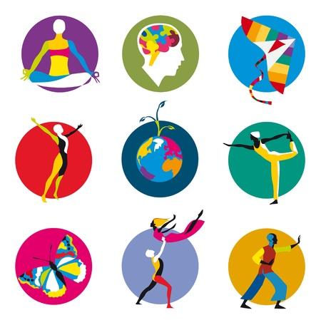 psicologia: iconos vectoriales para actividades de desarrollo humano dentro de círculos de colores