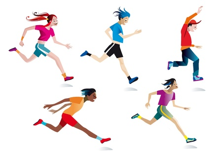 Five boys and girls running (white background).