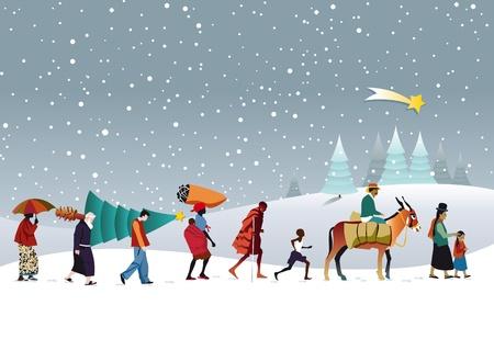 burro: caravana de personas de diferentes razas a través de las montañas nevadas que lleva un árbol de Navidad.