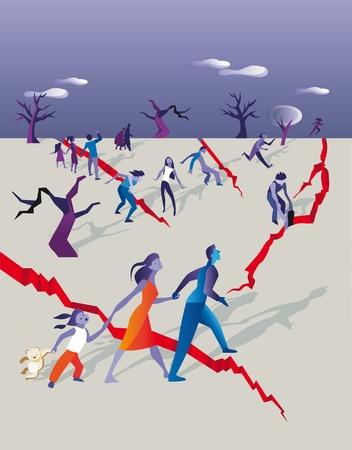 catastrophe: des groupes de personnes essayant de fuir et � la s�curit� tandis que le sol se fissure pour un tremblement de terre