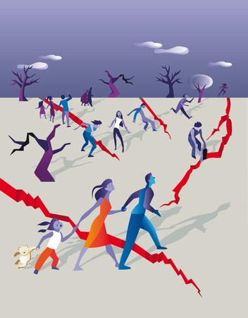 groups of people running away and trying to safety while the soil is cracking for a earthquake Stock Vector - 11119649