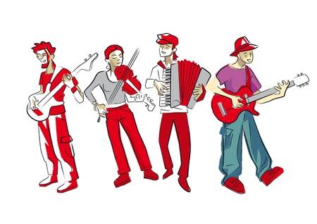 vier muzikanten Stock Illustratie