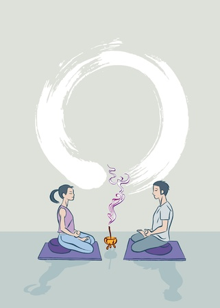 man meditating: A boy and a girl practicing zen meditation