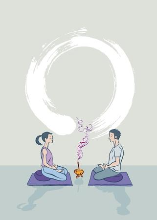 A boy and a girl practicing zen meditation
