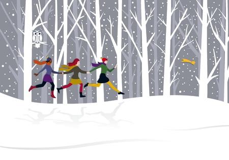 Tres chicas jóvenes que recorren el bosque detrás de la estrella del este Foto de archivo - 11272904
