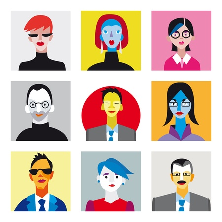 company profile: Nine faces of businessmen and businesswomen for internet avatar