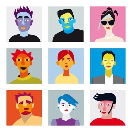perfil de mujer rostro: Nueve rostros de hombres y mujeres por internet y avatar en redes sociales Vectores