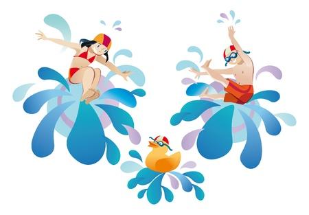 Little girl and little boy jumping into a pool Vector