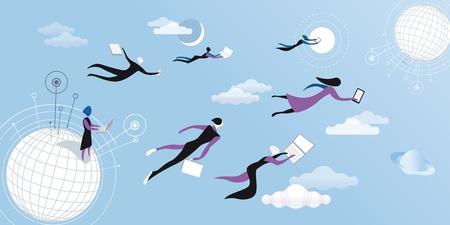 Mannen een vrouwen vliegen en werken tussen de wolken
