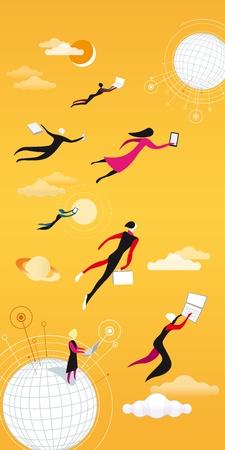 Los hombres a una mujer volando entre las nubes y el trabajo Ilustración de vector