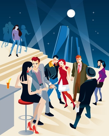 moon chair: Vector illustration of fashion young people in a party. Behind them the silhouettes of tall towers and the full moon in the night sky. Illustration