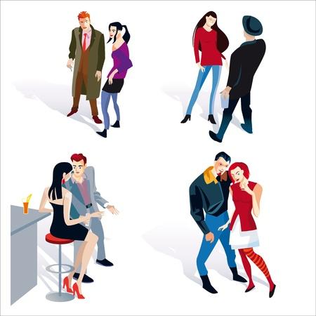 sgabelli: Illustrazione vettoriale di persone della moda giovane. quattro coupels ragazzo e ragazza. Sfondo bianco. Vettoriali