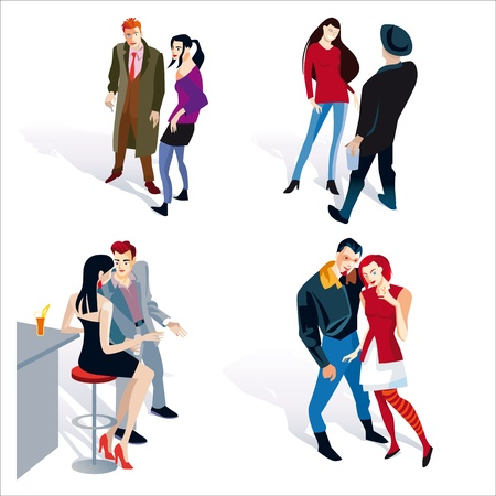 Vector illustration of fashion young people. four young boy and girl coupels. White background.