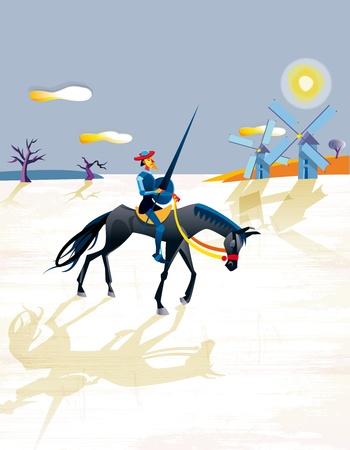 Don Quijote de la Mancha a través de los paseos en España en la parte posterior de su caballo flaco. Él es un caballero andante en busca de aventuras. Delante de ellos los dos molinos de viento. Ilustración de vector