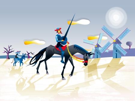 Don Quichot van de Mancha rijdt door Spanje op de rug van zijn magere paard. Hij is een dolende ridder op zoek naar avonturen. Hij wordt vergezeld door zijn schildknaap Sancho Panza op zijn ezel. Voor hen zijn twee windmolens. Stock Illustratie