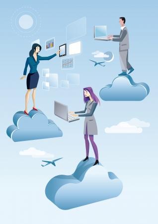 Dos mujeres y un hombre están trabajando en el cielo entre las nubes que están trabajando en el cielo con las computadoras y la tableta, conectada a Internet y acceder a servicios en la nube Ilustración de vector