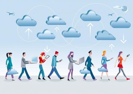 Ocho personajes diferentes, hombres y mujeres, acceder a los datos en la nube de Internet con diferentes dispositivos móviles móviles, ordenadores portátiles, tabletas, ya que caminar y están en movimiento