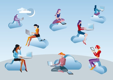 social networks: Eight girls and women access to Internet data in the cloud while they are sitting on blue clouds. Attitudes of professional work and leisure in social networks. Illustration