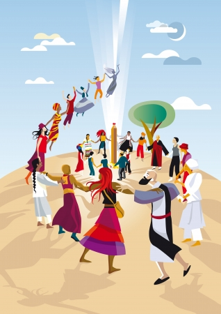 A group of practitioners of different religions, races and cultures, make a circle  and pray together joining their hands Stock Vector - 12875554