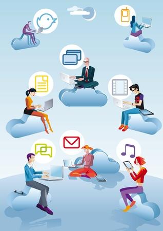 Acht karakter vier mannen ans vier vrouwen vliegen en werken tussen de wolken Er wordt gewerkt met computers, smartphones en tablets Naast elke persoon verschijnt een pictogram in verband met internet