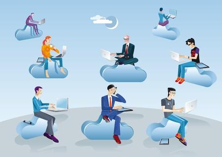 Acht mannen van verschillende leeftijden, kleding en stijlen uitvoerende, informeel, creatief, geek, etc. werken in de cloud met laptops, smartphones en tablets