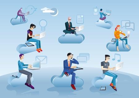 Ocho hombres vestidos de diferentes épocas y estilos (hombre de negocios, creativo, friki, etc) que trabajan en la nube con sus ordenadores portátiles, teléfonos inteligentes y tabletas. Cerca de cada personaje de internet y los iconos de los medios de comunicación social. Ilustración de vector