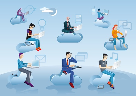 Eight men of different ages clothes and styles (businessman, creative, geek etc.) working in the cloud with their laptops, smartphones and tablets. Near each character  an internet and social media icons. Vettoriali