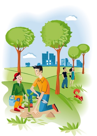 Child with his father planting a seedling in a garden There are several trees and a squirrel  Behind them iit Vector