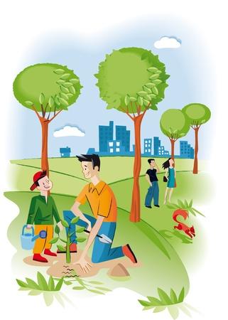 Kind met zijn vader het planten van een zaailing in een tuin Er zijn verschillende bomen en een eekhoorn Achter hen iit