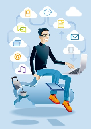 aspects: Cool young man Hes sitting on a cloud working with a laptop  He also has a digital tablet  Around he displays a set of media and communication icons, representing different aspects of clouding and internet