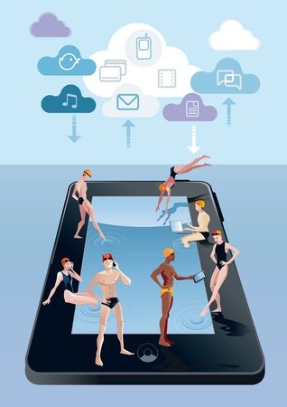 Handsome boys and girls around a pool in digital tablet form  They spend free time while at the same time remain connected to Internet with their mobile phones, tablets and notebooks  Over they there are some cloud with cloud computing icons  Vector