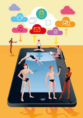 remain: Handsome boys and girls around a pool in digital tablet form  They spend free time while at the same time remain connected to Internet with their mobile phones, tablets and notebooks  over they there are some cloud with cloud computing icons