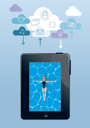 clouding: Girl floating in a pool with digital tablet form  Over this girl  there is a cloud which  cloud computing icons