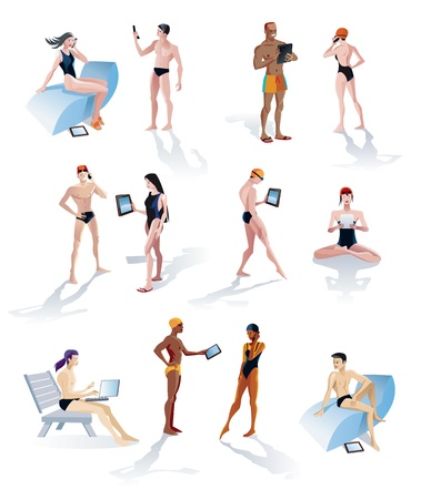 Twelve characters of young and cool men and women in swimsuits and making use of tech gadgets such as smartphones, laptops and digital tablets  Vector