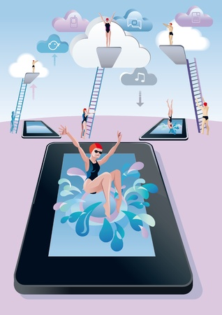 diving board: Cloud computing concept. A woman jumps from the diving board into a pool with digital tablet form and splashing . Behind her, a trampoline and other men and women preparing to jump the leap and dive.