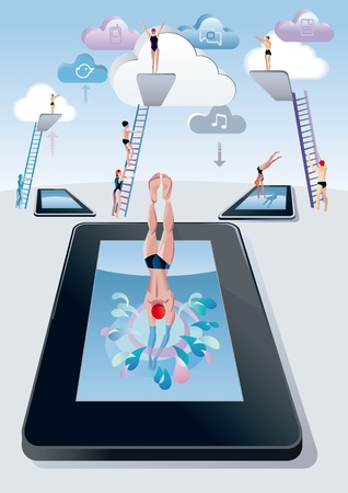 Cloud computing concept  A woman jumps from the diving board into a pool with digital tablet form and splashing   Behind her, a trampoline and other men and women preparing to jump the leap and dive  Vector