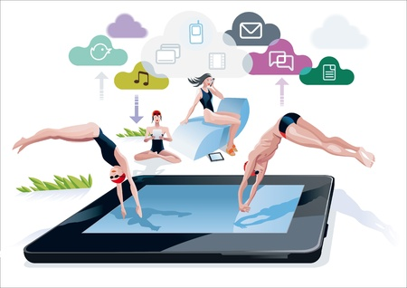 A boy and a girl diving at the same time into a pool with a digital tablet form  Near the side of the pool, a girl reads in a digital tablet and another girl speak on the phone