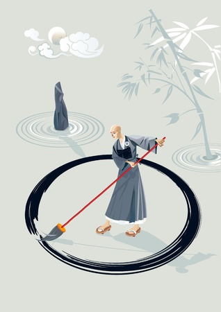 Zen monk in a garden drawing a large circle on the floor with a big brush In the garden there is a stone and few concentric circles of sand and bamboo plant In the sky is the moon