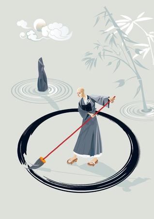 mindfulness: Zen monnik in een tuin het tekenen van een grote cirkel op de grond met een grote kwast in de tuin bevindt zich een steen en enkele concentrische cirkels van zand en bamboe plant In de hemel is de maan