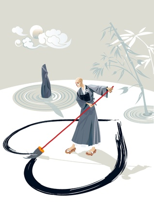 caligraphy: Zen monk in a garden drawing a large heart on the floor with a brush  In the garden there is a stone and  few concentric circles of sand and bamboo plant  In the sky is the moon and some clouds