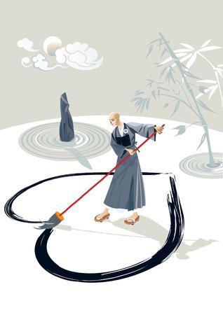 Zen monnik in een tuin het tekenen van een groot hart op de vloer met een penseel in de tuin is er een steen en enkele concentrische cirkels van zand en bamboe plant In de hemel is de maan en enkele wolken