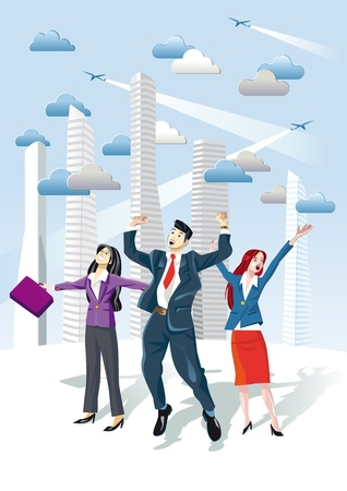 A group of businessman and businesswoman jumping in success and triumph attitude  Besides they some bigs towers, and planes crossing the blue sky