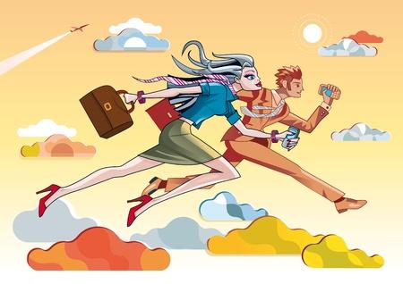 competitividad: Empresaria y hombre de negocios corriendo a trav�s de psicod�licos nubes anaranjadas Vectores